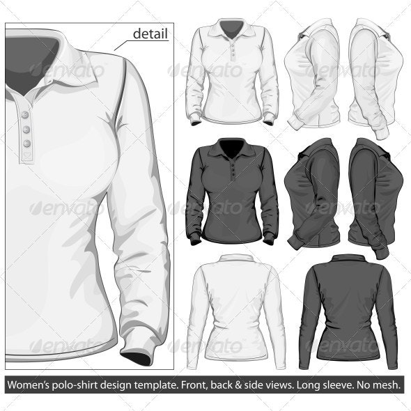 Women's Polo-shirt Design Template. Long Sleeve. - Commercial / Shopping Conceptual