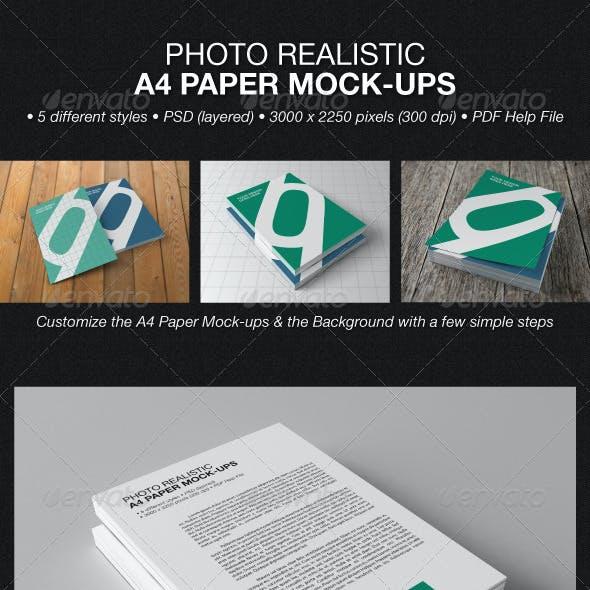 Photo Realistic A4 Paper Mock-Ups