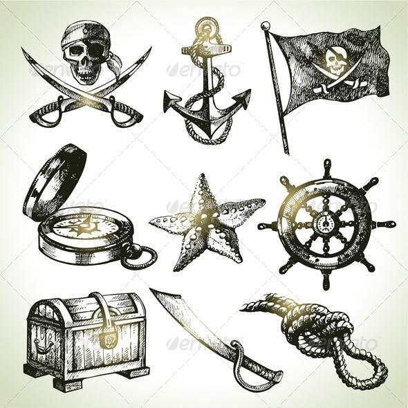 Hand Drawn Pirate Set