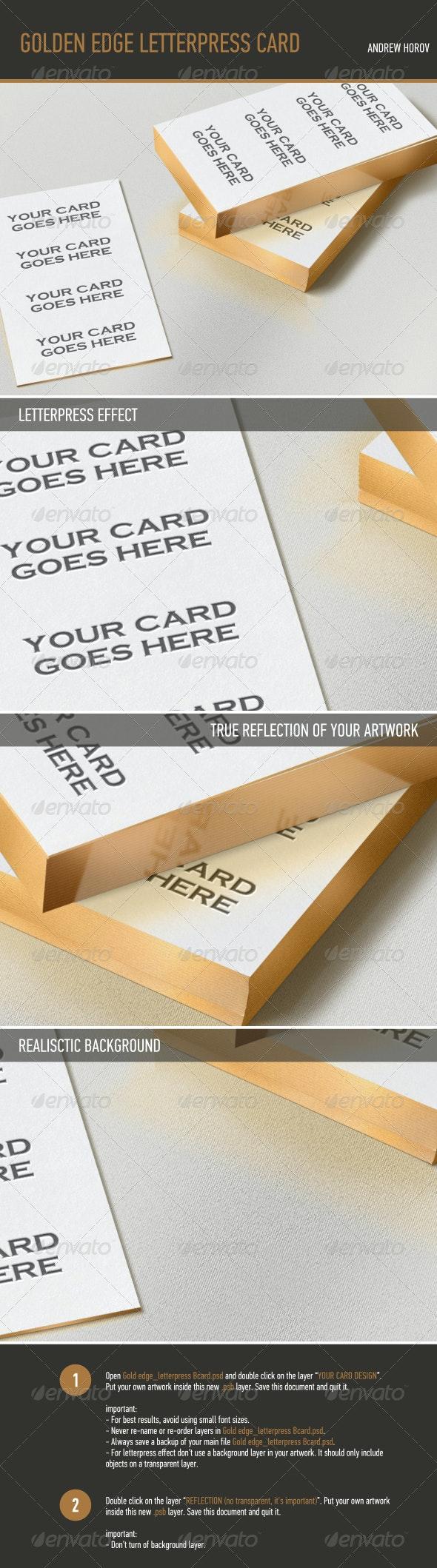 Gold Edge Letterpress Bcard Mock-up - Business Cards Print