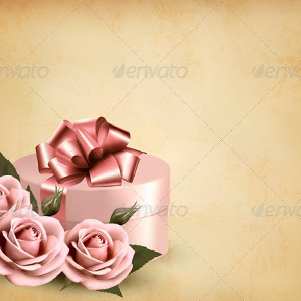 Holiday Retro Background with Pink Roses and Gift