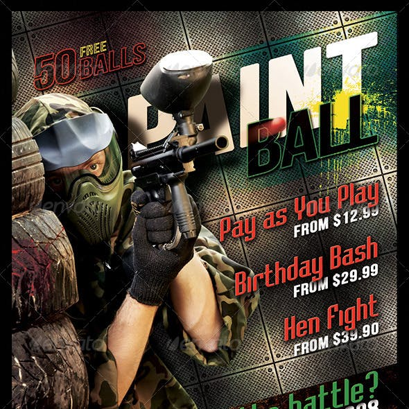 Grunge Paintball  Flyer 6 x 4