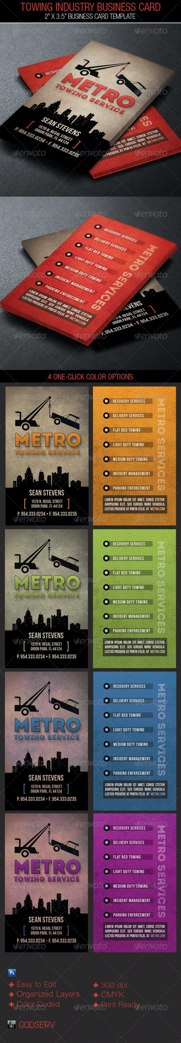 Towing Industry Business Card Template - Industry Specific Business Cards
