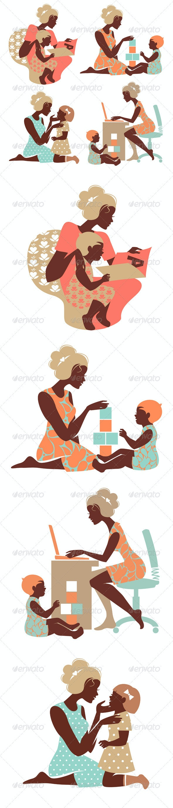 Set of Mother and Baby Silhouettes - People Characters