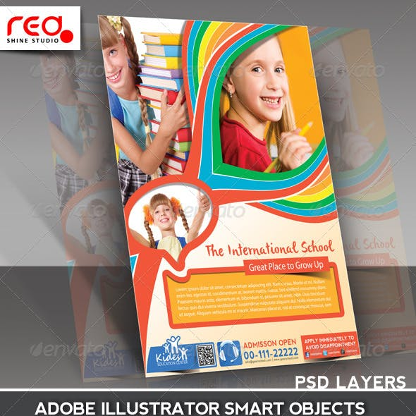 Kid's School Promotion Flyer Poster Template