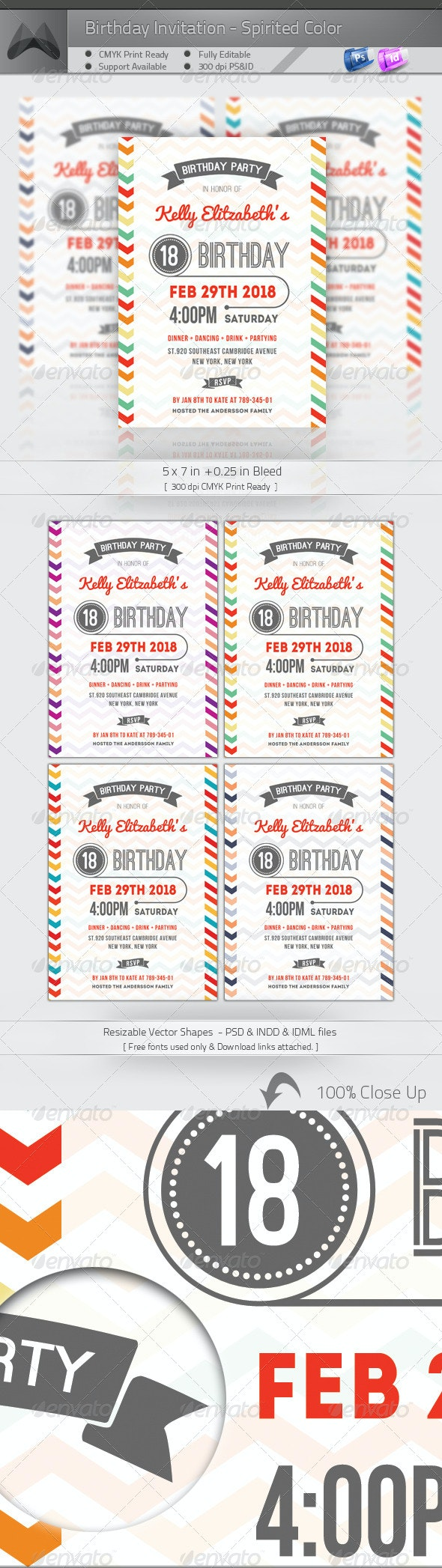 Birthday Invitation - Spirited Color - Invitations Cards & Invites