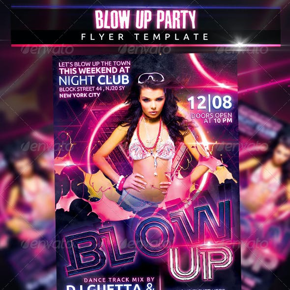 Blow Up Party Flyer Template