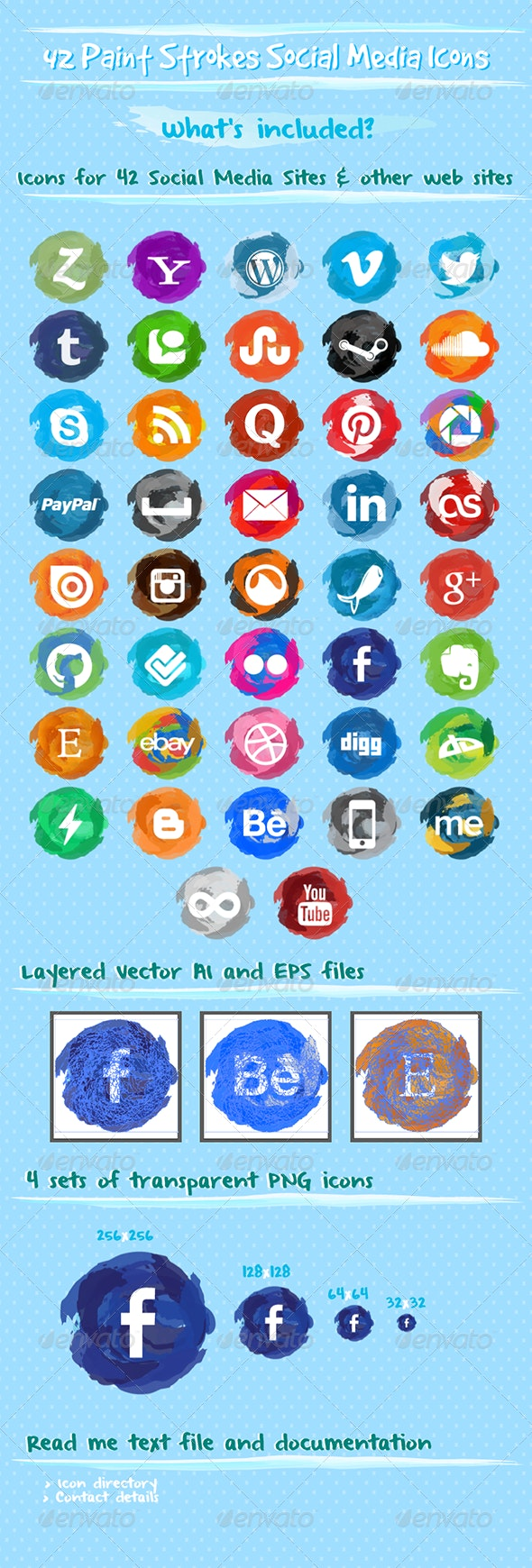Paint Strokes Social Media Icons - Web Elements Vectors