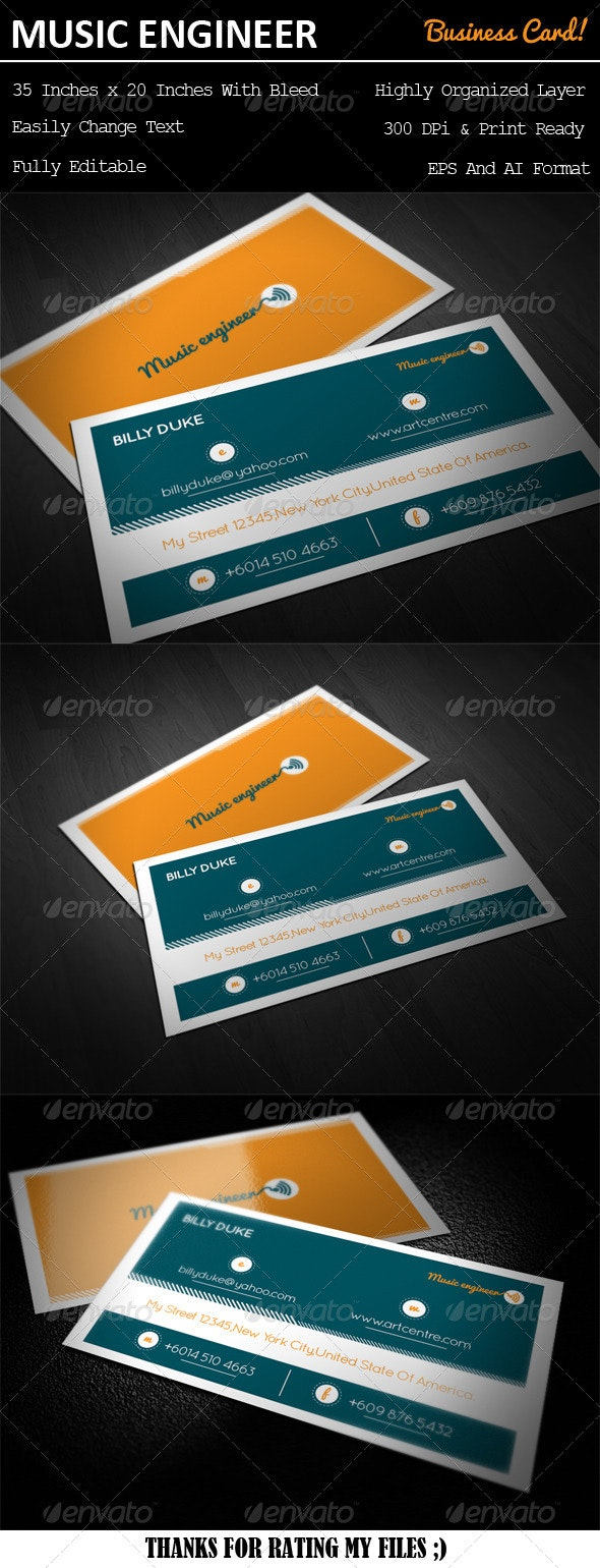 Music Engineer Business Card - Business Cards Print Templates
