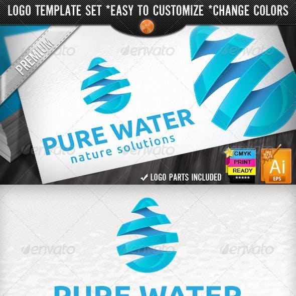 3D Drop Swirl Warp Pure Water Logo Template