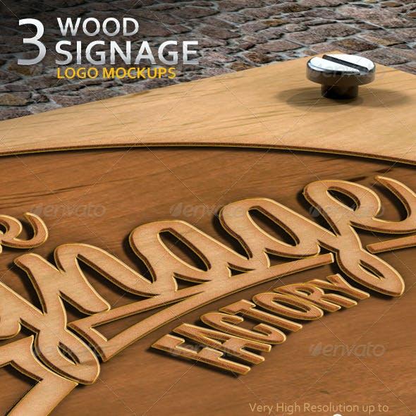 3 Wood Signage Logo Mock-Ups