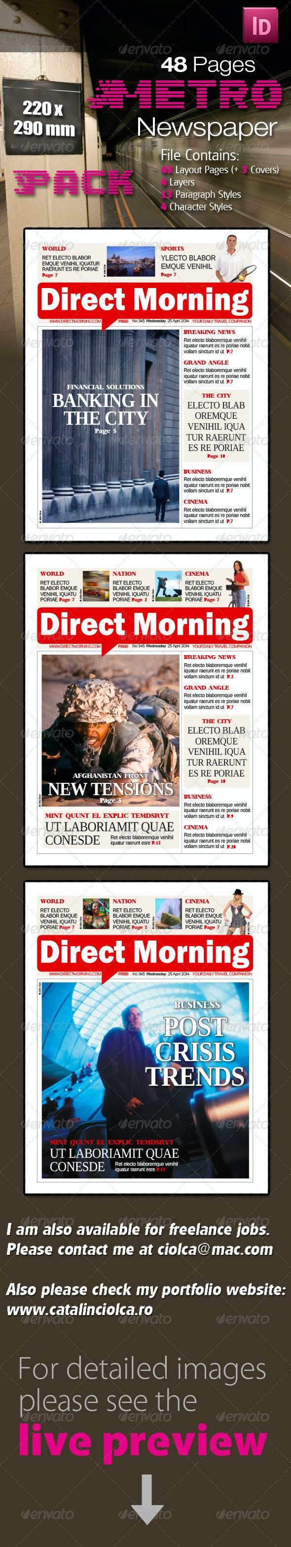 48 Pages Metro Newspaper Bundle  - Newsletters Print Templates