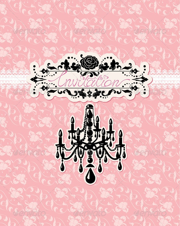 Wedding Invitation Card with Luxury Chandelier - Weddings Seasons/Holidays