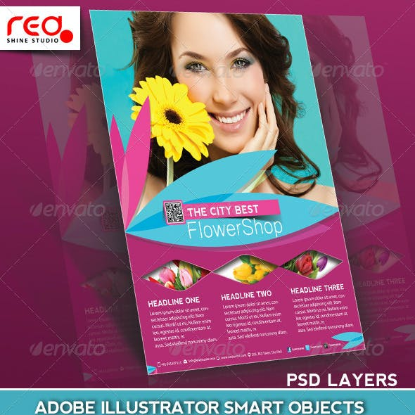 Flower Shop Flyer, Poster & Magazine Template