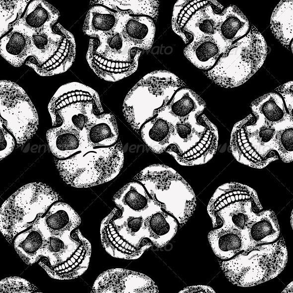 Seamless Monochrome Pattern with Skulls - Patterns Decorative