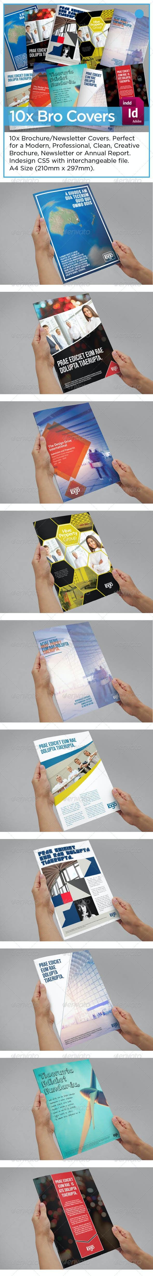 10 x Brochure Newsletter Report Covers - Brochures Print Templates