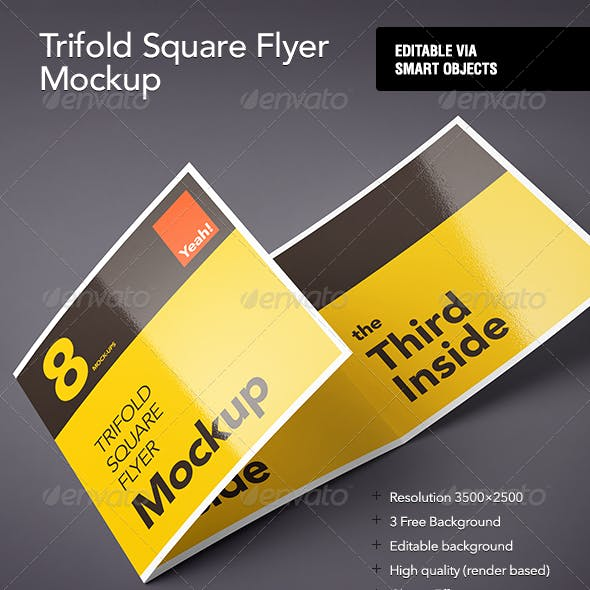 Square Trifold Flyer Mock-Up