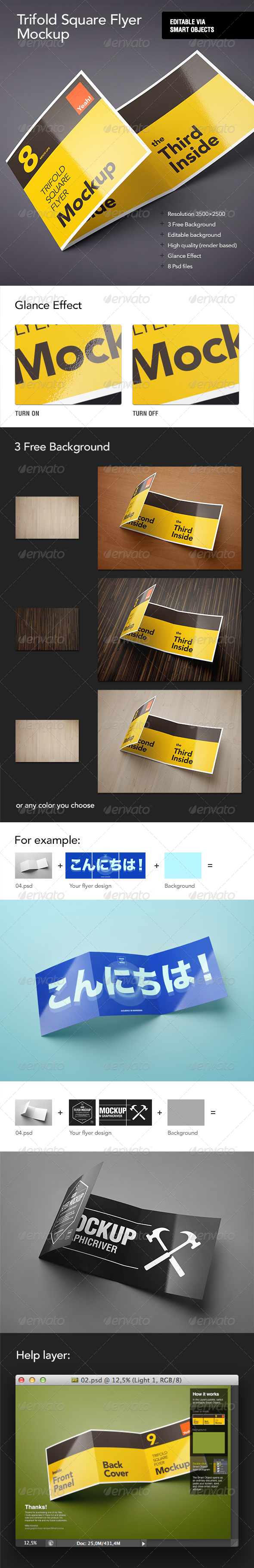 Square Trifold Flyer Mock-Up - Flyers Print