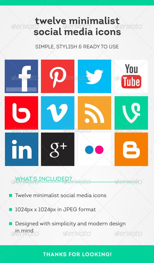 12 Minimalist Social Media Icons - Social Media Web Elements