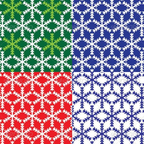 Set of 4 Snowflakes Seamless Patterns