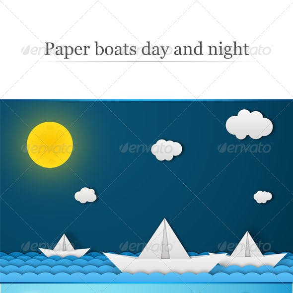 Paper Boats - Day and Night Backgrounds