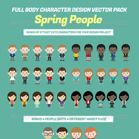 Full Body Character Design Vector Pack