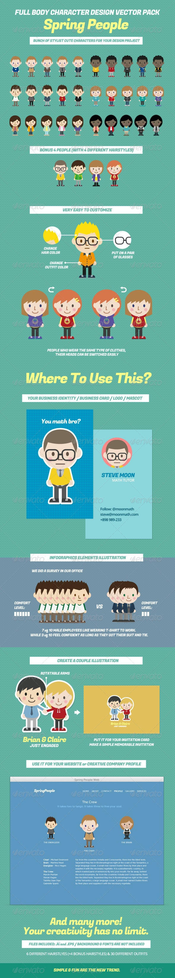 Full Body Character Design Vector Pack - People Characters