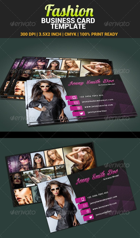 Fashion Model Actress Business Card Template - Industry Specific Business Cards