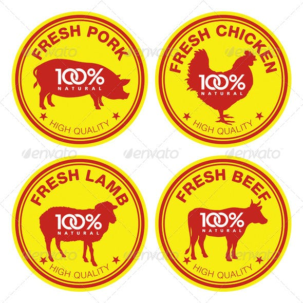 Set of Fresh Meat Labels