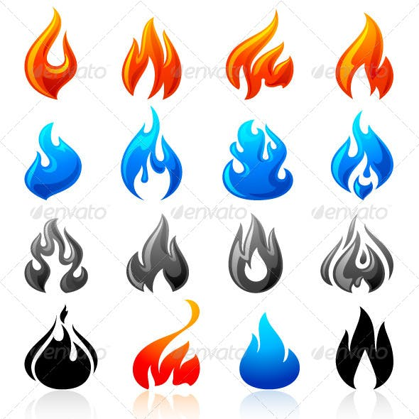 16 Flames of Fire in Set Colored 96 icons