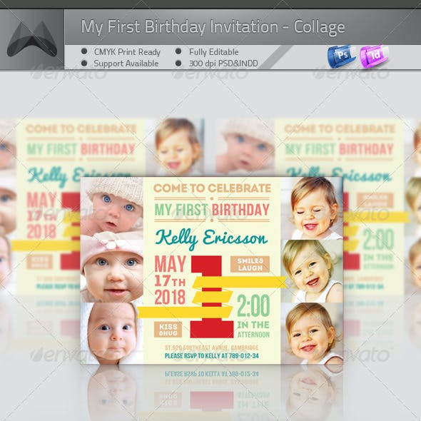 My First Birthday Invitation - Big One Collage