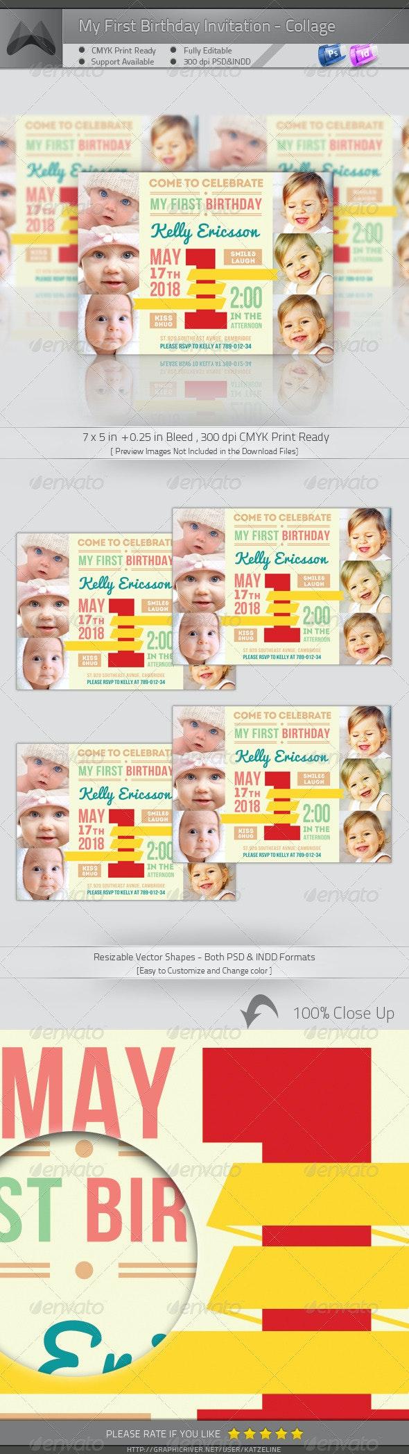My First Birthday Invitation - Big One Collage - Birthday Greeting Cards
