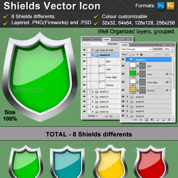 8 vector shield icon - metalic