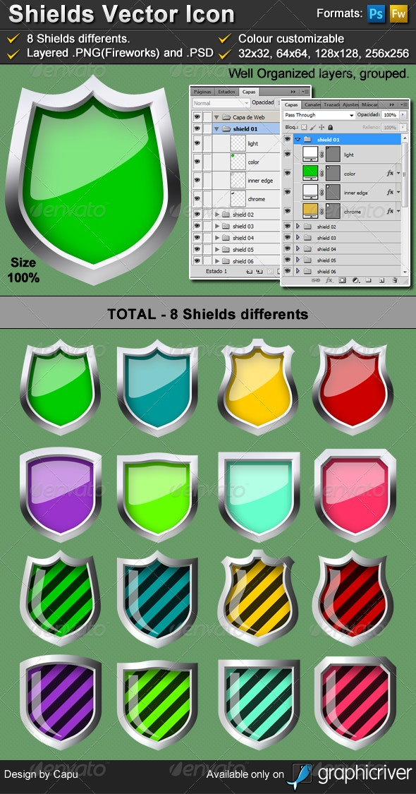 8 vector shield icon - metalic - Objects Icons