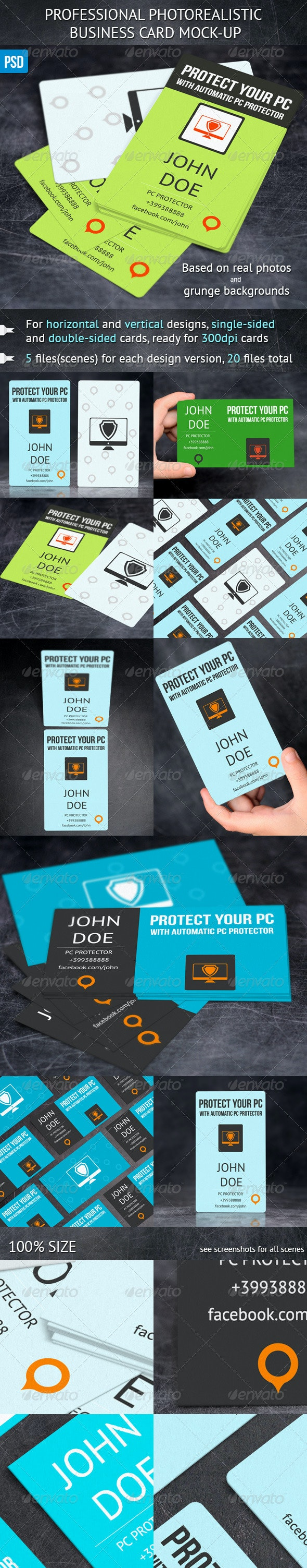 Photorealistic Business Card Mock-Ups - Business Cards Print