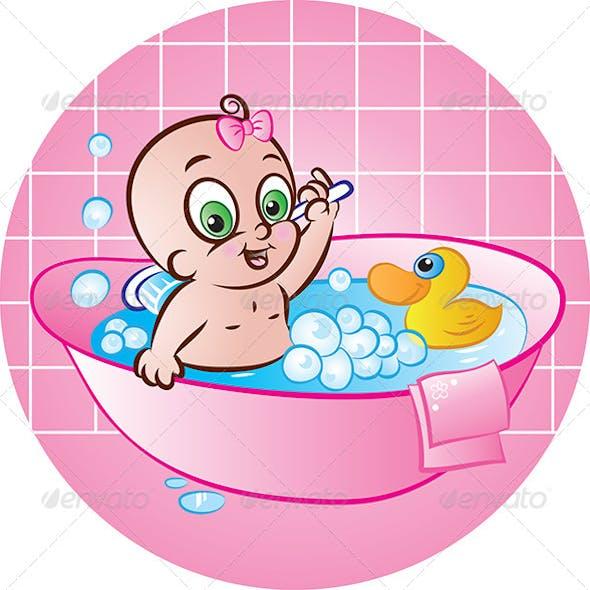 Happy Baby Girl in Tub