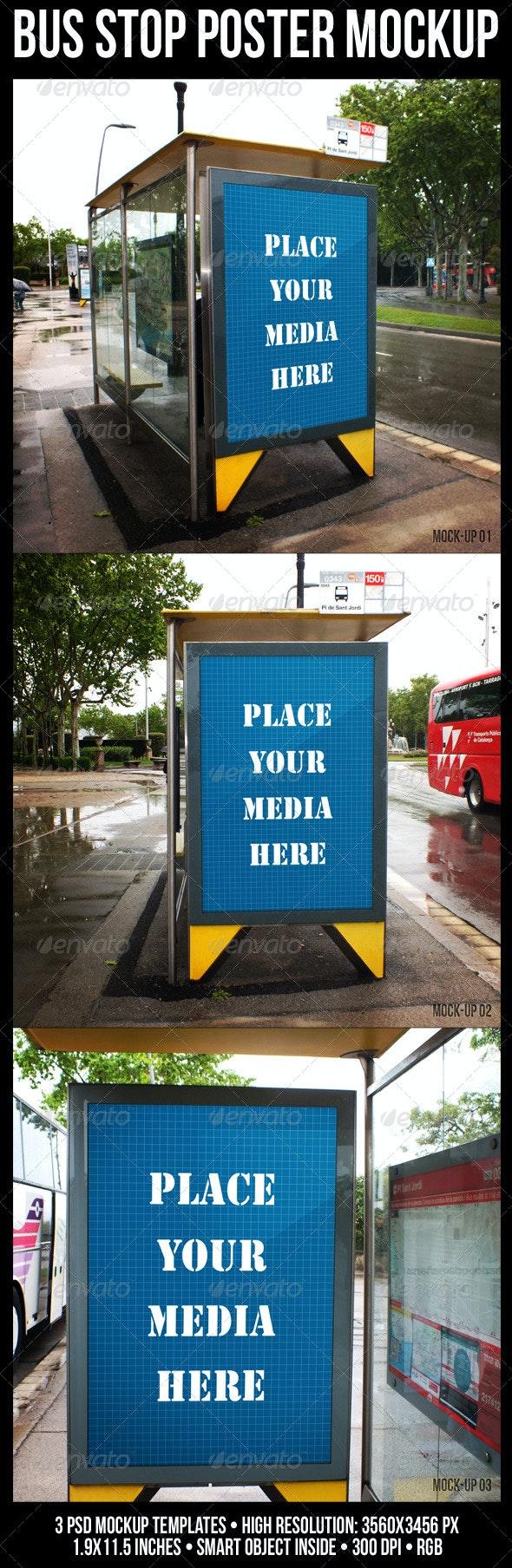 Bus Stop Poster Mockup - Posters Print