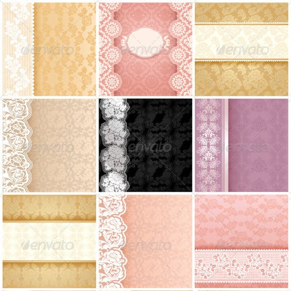 15 Floral Backgrounds with Ornament and Lace