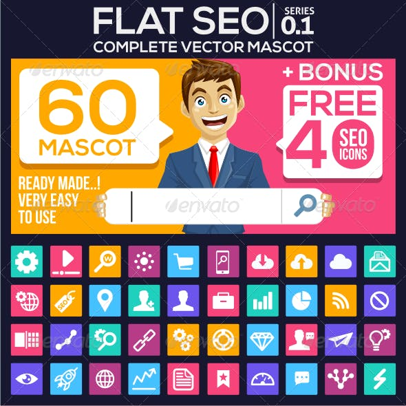 Flat Design SEO Mascot with Icon Bonus