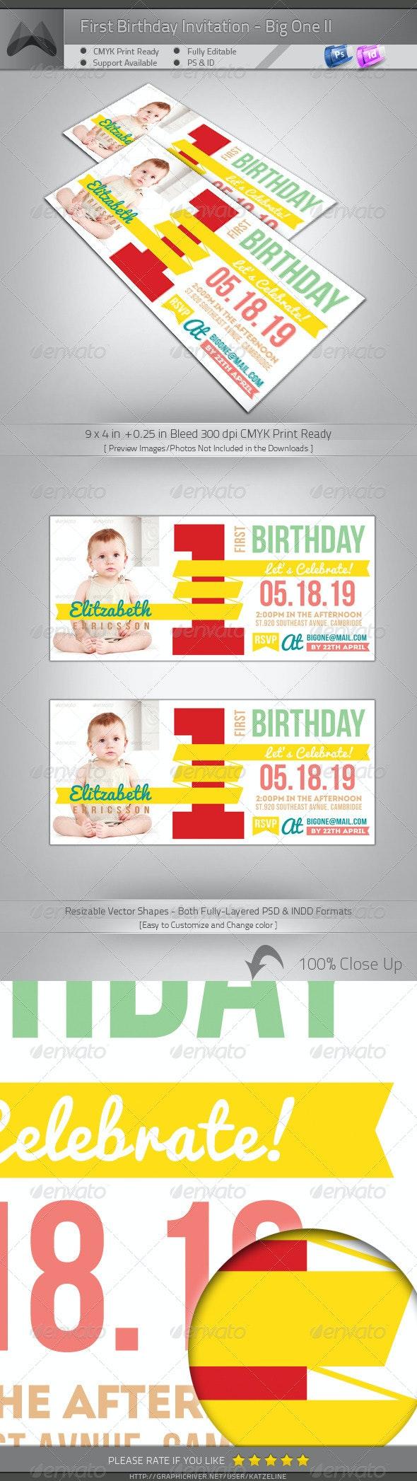 First Birthday Invitation - Big One II - Birthday Greeting Cards