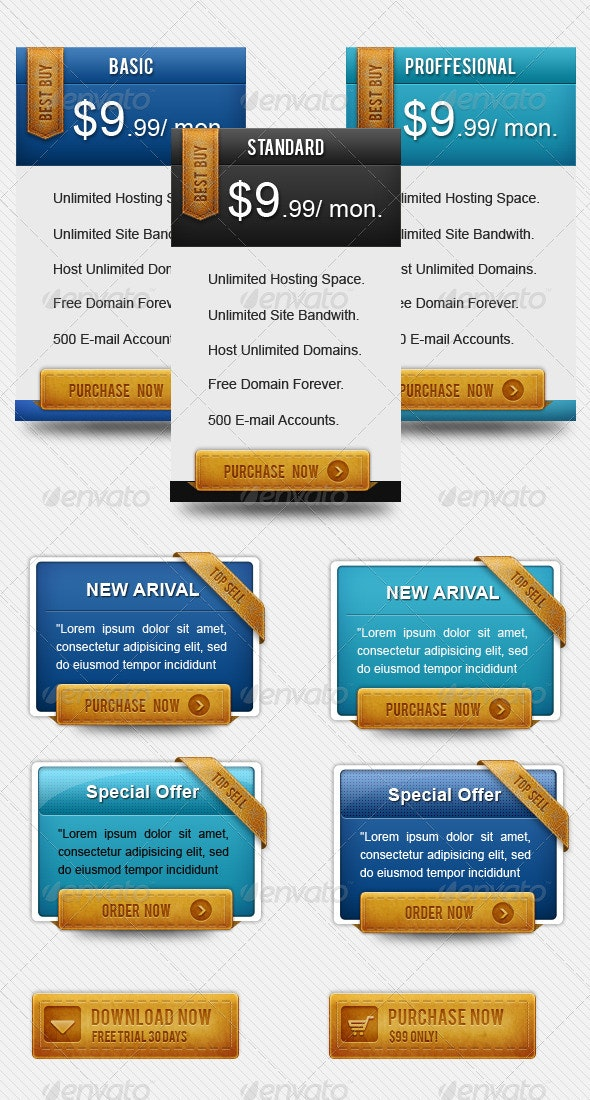 Modern Pricing Box - Tables Web Elements