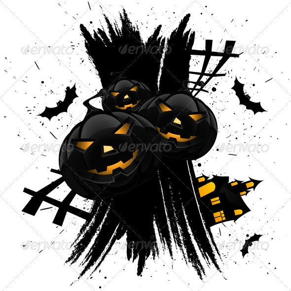 Grungy Halloween Background with Pumpkins - Halloween Seasons/Holidays