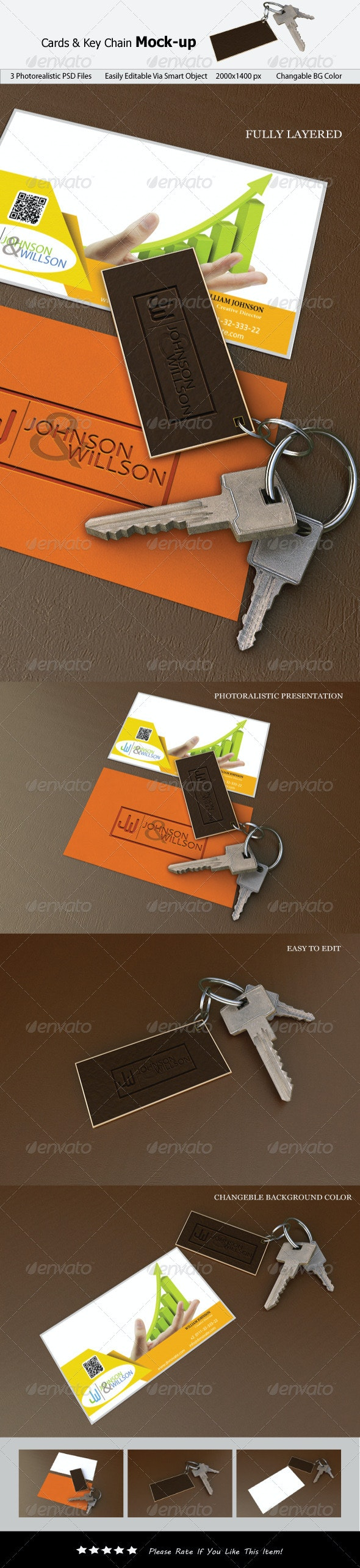 Cards & Key Chain Mock-up - Product Mock-Ups Graphics