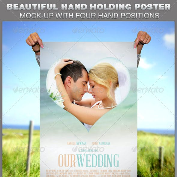 Beautiful Hand Holding Poster Mockup Template