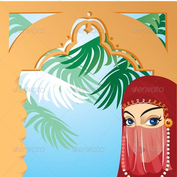 Beautiful Arabian Woman Wearing Yashmak