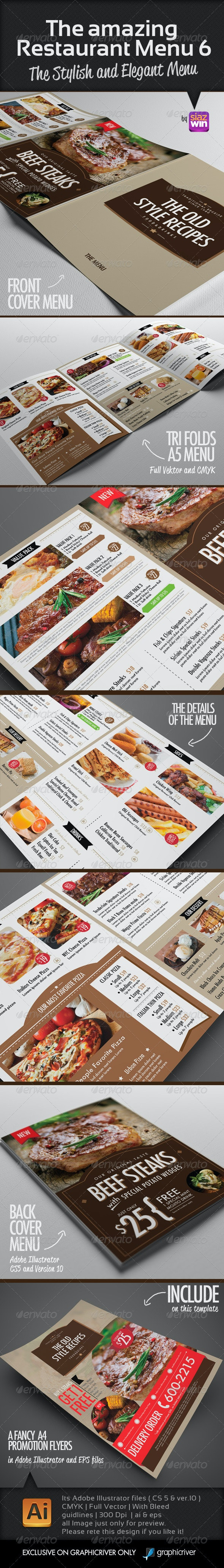 The Restaurant Menu 6 - Food Menus Print Templates