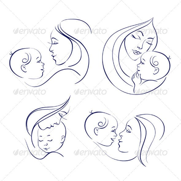 Mother and Baby Icon Set