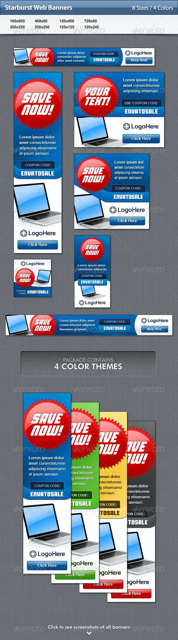 Starburst Web Banners - Banners & Ads Web Elements