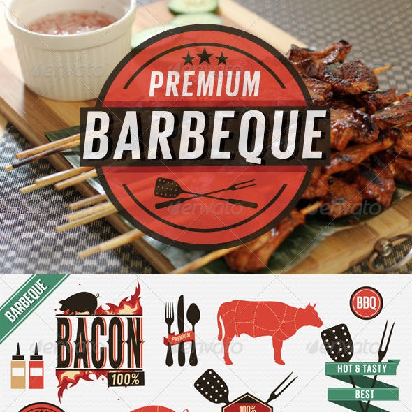 Barbecue Vintage Labels, Grill Icons