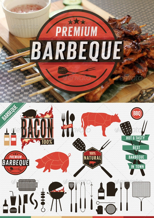 Barbecue Vintage Labels, Grill Icons - Food Objects
